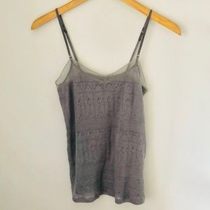 American Eagle Gray Lace Camisole